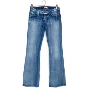 BKE light wash low rise distressed bootcut jeans